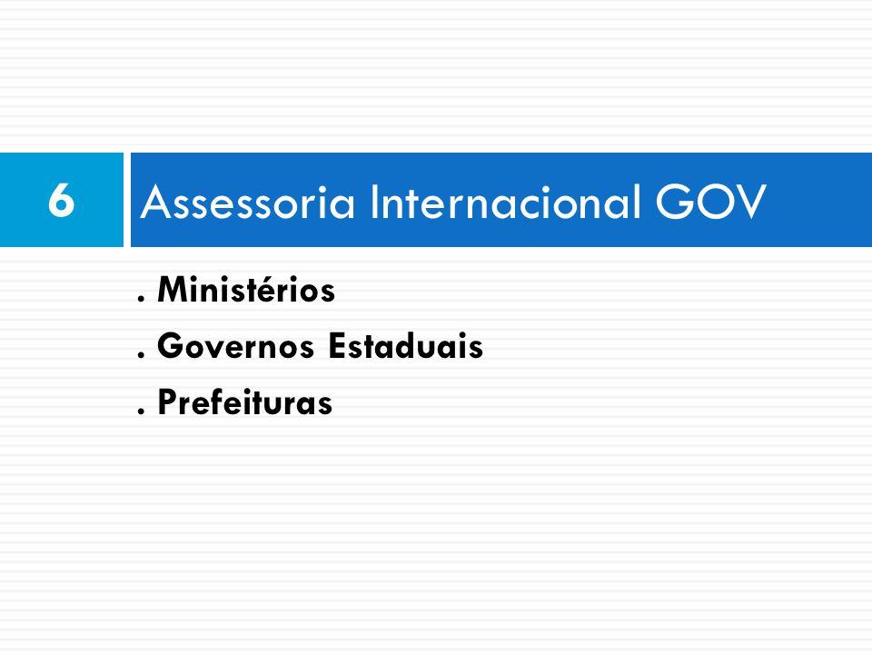 Assessoria Internacional GOV 6. Ministérios. Governos Estaduais. Prefeituras