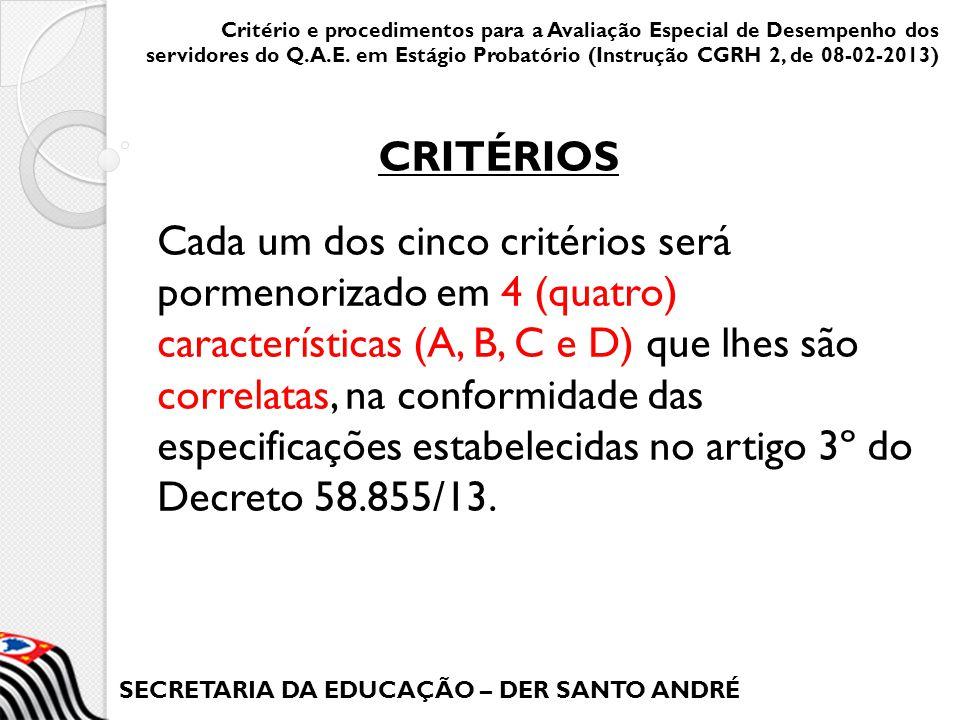 SECRETARIA DA EDUCAÇÃO – DER SANTO ANDRÉ Cada um dos cinco critérios será pormenorizado em 4 (quatro) características (A, B, C e D) que lhes são corre