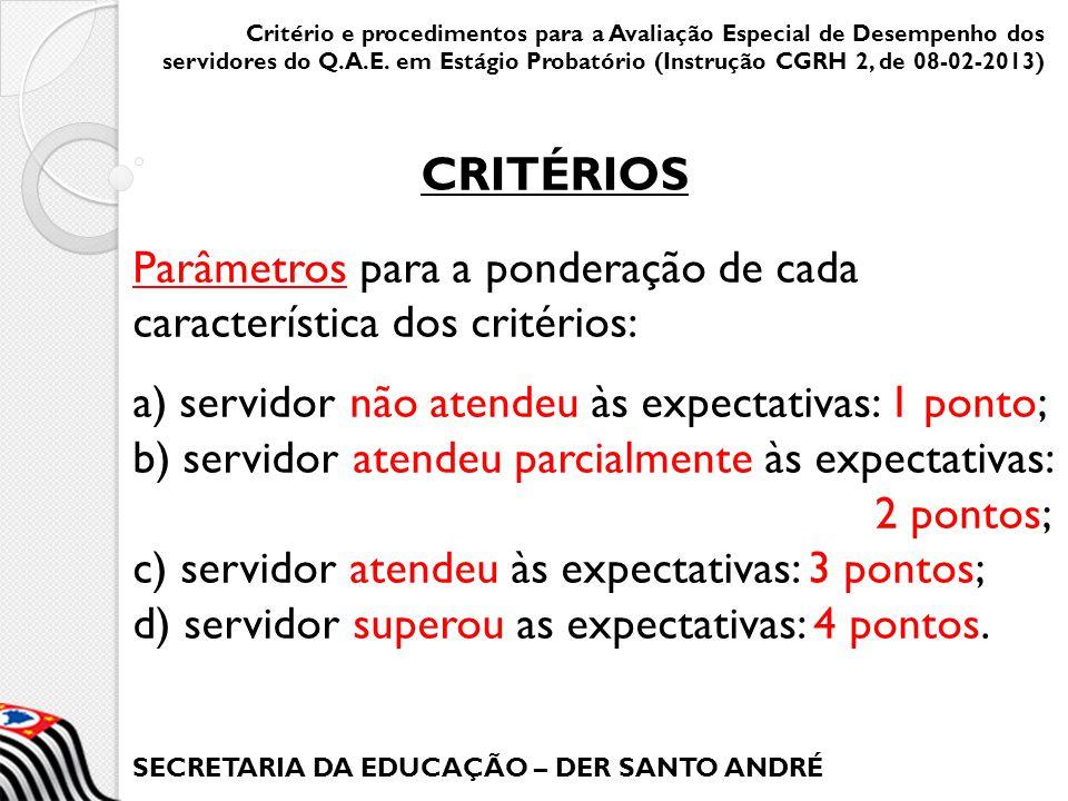 SECRETARIA DA EDUCAÇÃO – DER SANTO ANDRÉ Parâmetros para a ponderação de cada característica dos critérios: a) servidor não atendeu às expectativas: 1