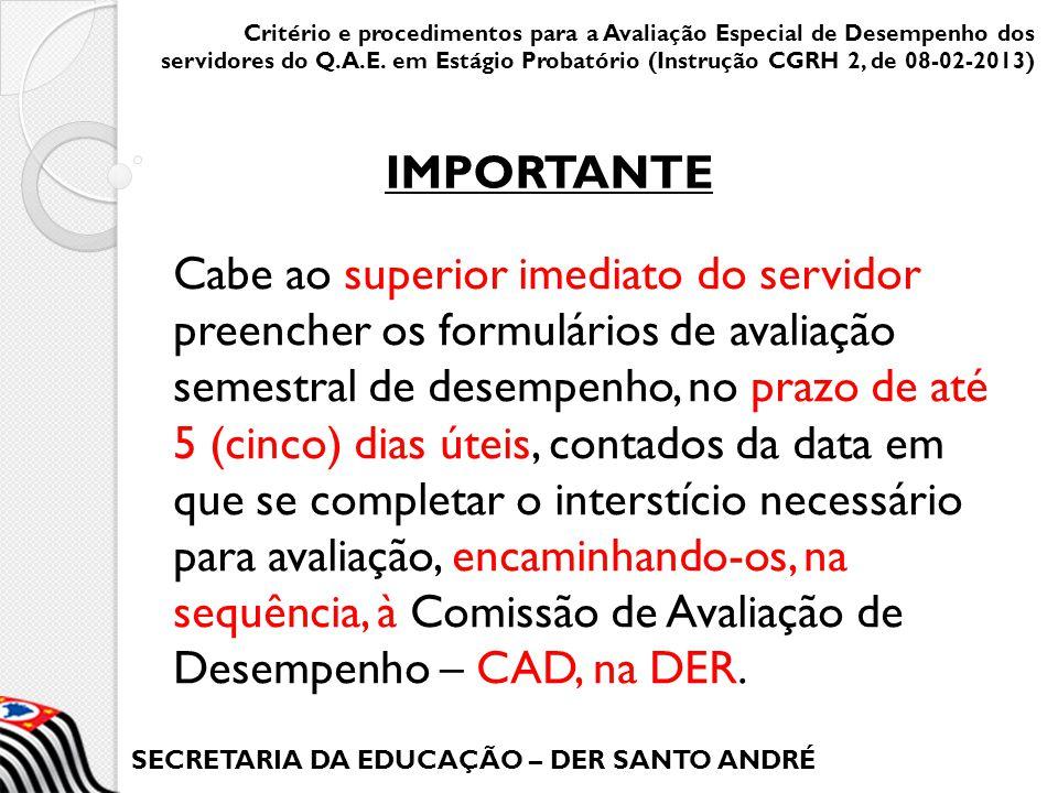 SECRETARIA DA EDUCAÇÃO – DER SANTO ANDRÉ Cabe ao superior imediato do servidor preencher os formulários de avaliação semestral de desempenho, no prazo