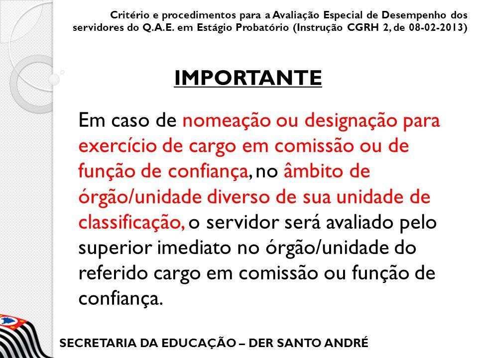 SECRETARIA DA EDUCAÇÃO – DER SANTO ANDRÉ Em caso de nomeação ou designação para exercício de cargo em comissão ou de função de confiança, no âmbito de