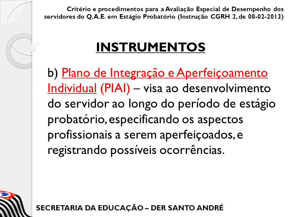 SECRETARIA DA EDUCAÇÃO – DER SANTO ANDRÉ b) Plano de Integração e Aperfeiçoamento Individual (PIAI) – visa ao desenvolvimento do servidor ao longo do