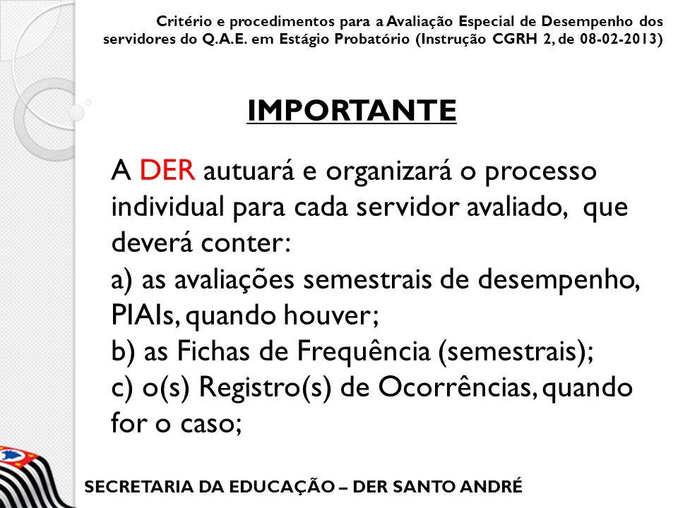 SECRETARIA DA EDUCAÇÃO – DER SANTO ANDRÉ A DER autuará e organizará o processo individual para cada servidor avaliado, que deverá conter: a) as avalia