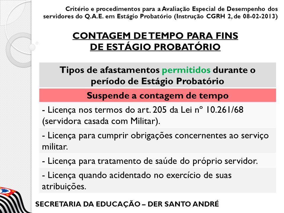 SECRETARIA DA EDUCAÇÃO – DER SANTO ANDRÉ A DER autuará e organizará o processo individual para cada servidor avaliado, que deverá conter: a) as avaliações semestrais de desempenho, PIAIs, quando houver; b) as Fichas de Frequência (semestrais); c) o(s) Registro(s) de Ocorrências, quando for o caso; Critério e procedimentos para a Avaliação Especial de Desempenho dos servidores do Q.A.E.