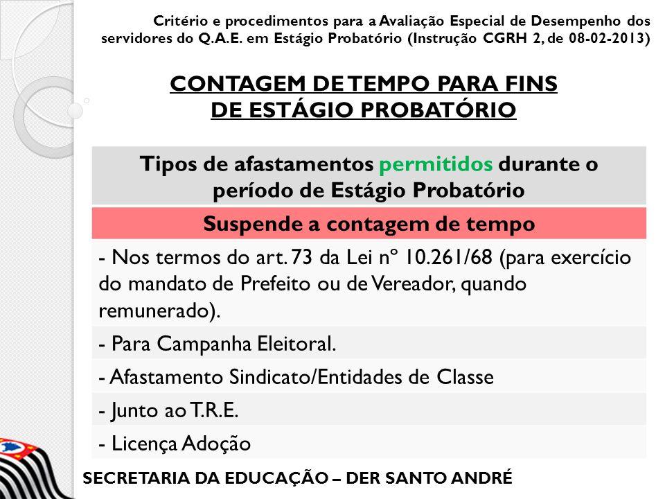 SECRETARIA DA EDUCAÇÃO – DER SANTO ANDRÉ Critério e procedimentos para a Avaliação Especial de Desempenho dos servidores do Q.A.E.
