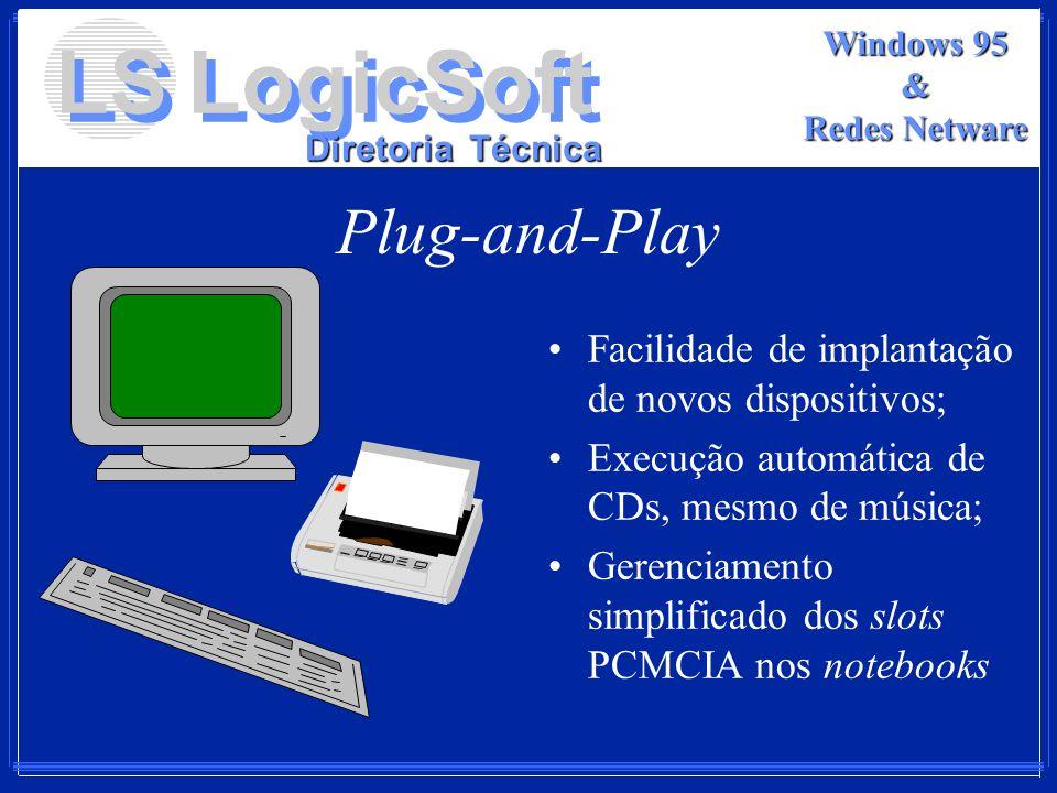 LS LogicSoft Diretoria Técnica Windows 95 & Redes Netware Plug-and-Play Facilidade de implantação de novos dispositivos; Execução automática de CDs, m
