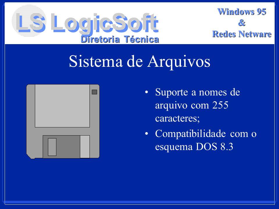 LS LogicSoft Diretoria Técnica Windows 95 & Redes Netware Sistema de Arquivos Suporte a nomes de arquivo com 255 caracteres; Compatibilidade com o esq