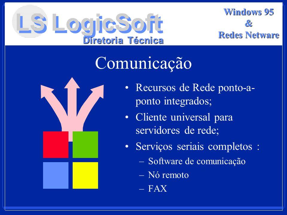 LS LogicSoft Diretoria Técnica Windows 95 & Redes Netware Comunicação Recursos de Rede ponto-a- ponto integrados; Cliente universal para servidores de