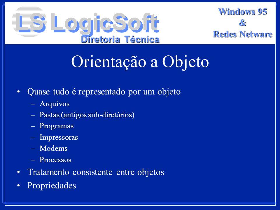 LS LogicSoft Diretoria Técnica Windows 95 & Redes Netware Orientação a Objeto Quase tudo é representado por um objeto –Arquivos –Pastas (antigos sub-d