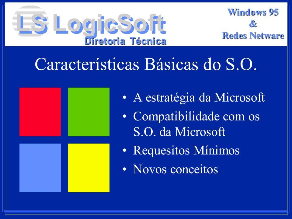 LS LogicSoft Diretoria Técnica Windows 95 & Redes Netware Características Básicas do S.O. A estratégia da Microsoft Compatibilidade com os S.O. da Mic