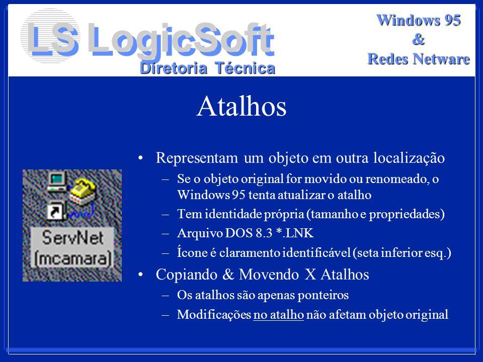 LS LogicSoft Diretoria Técnica Windows 95 & Redes Netware Atalhos Representam um objeto em outra localização –Se o objeto original for movido ou renom