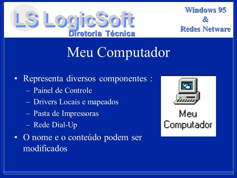LS LogicSoft Diretoria Técnica Windows 95 & Redes Netware Meu Computador Representa diversos componentes : –Painel de Controle –Drivers Locais e mapea
