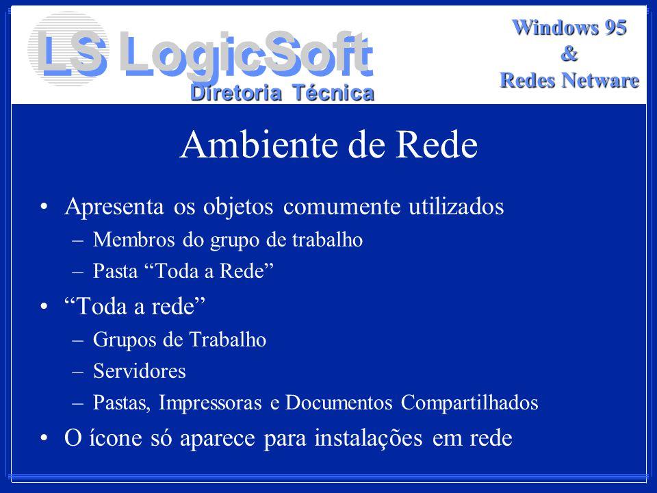 LS LogicSoft Diretoria Técnica Windows 95 & Redes Netware Ambiente de Rede Apresenta os objetos comumente utilizados –Membros do grupo de trabalho –Pa