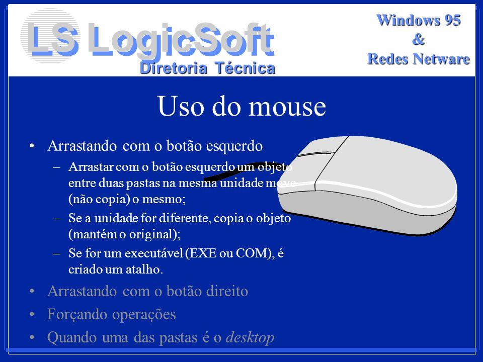 LS LogicSoft Diretoria Técnica Windows 95 & Redes Netware Uso do mouse Arrastando com o botão esquerdo –Arrastar com o botão esquerdo um objeto entre