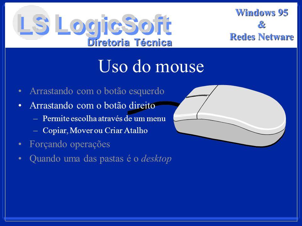 LS LogicSoft Diretoria Técnica Windows 95 & Redes Netware Uso do mouse Arrastando com o botão esquerdo Arrastando com o botão direito –Permite escolha