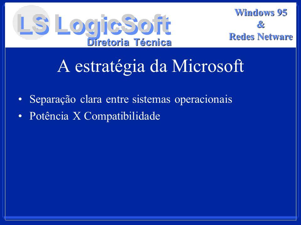 LS LogicSoft Diretoria Técnica Windows 95 & Redes Netware A estratégia da Microsoft Separação clara entre sistemas operacionais Potência X Compatibili
