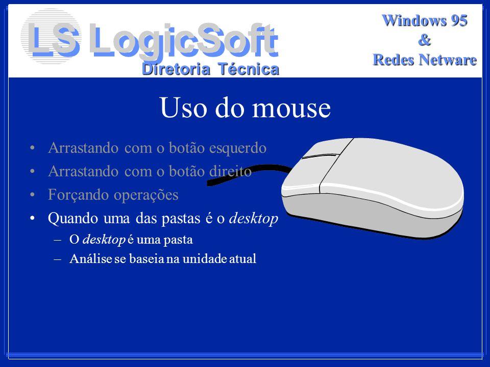 LS LogicSoft Diretoria Técnica Windows 95 & Redes Netware Uso do mouse Arrastando com o botão esquerdo Arrastando com o botão direito Forçando operaçõ