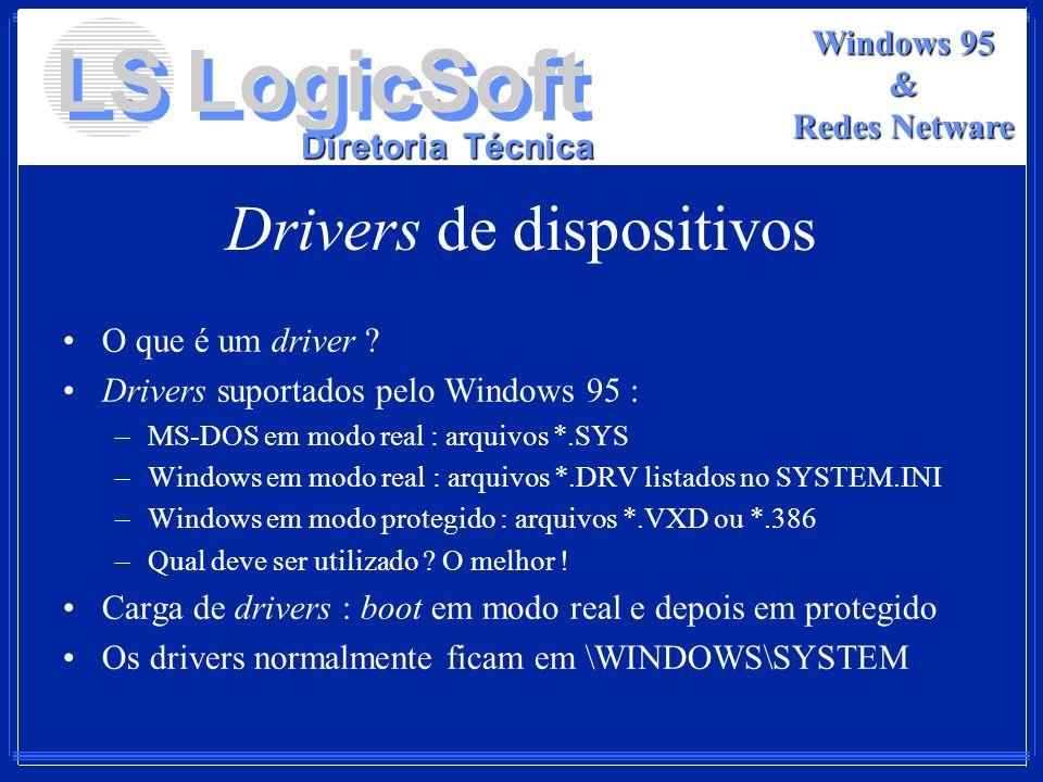 LS LogicSoft Diretoria Técnica Windows 95 & Redes Netware Drivers de dispositivos O que é um driver ? Drivers suportados pelo Windows 95 : –MS-DOS em