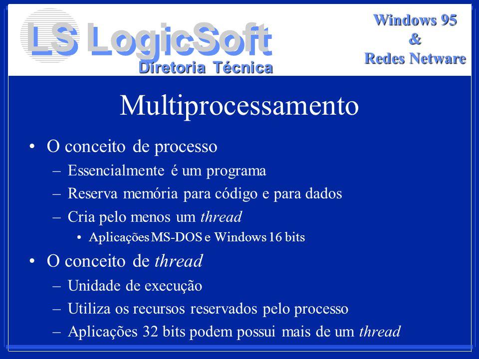 LS LogicSoft Diretoria Técnica Windows 95 & Redes Netware Multiprocessamento O conceito de processo –Essencialmente é um programa –Reserva memória par