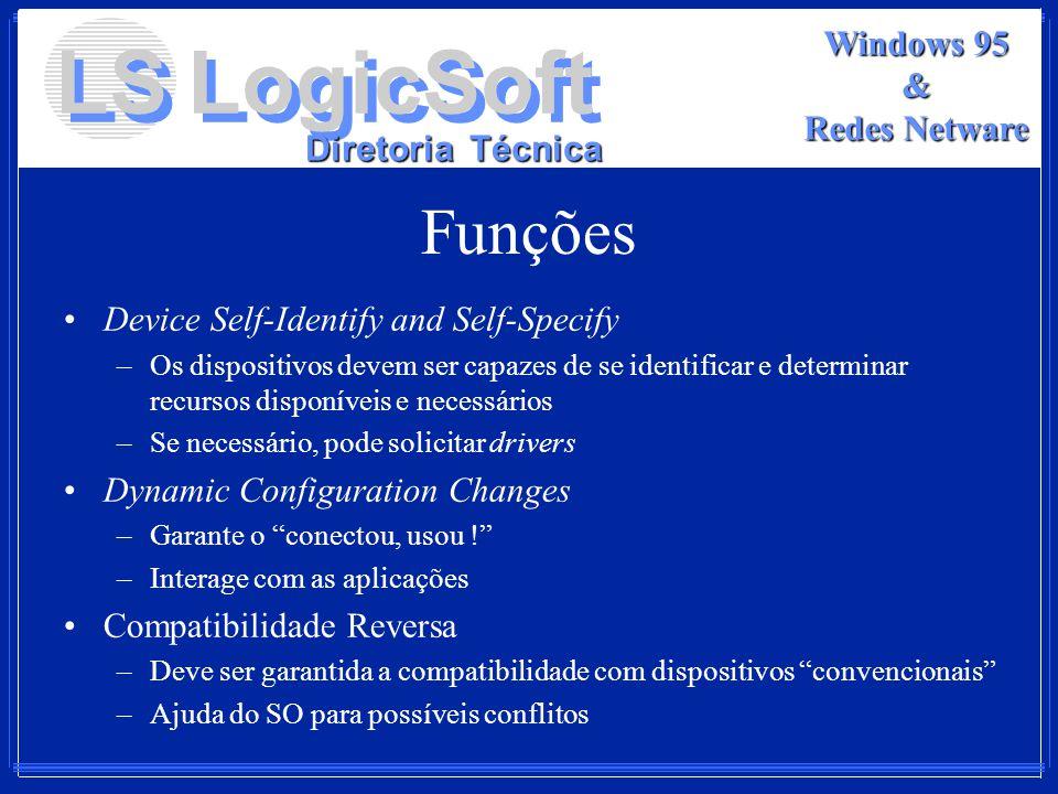 LS LogicSoft Diretoria Técnica Windows 95 & Redes Netware Funções Device Self-Identify and Self-Specify –Os dispositivos devem ser capazes de se ident