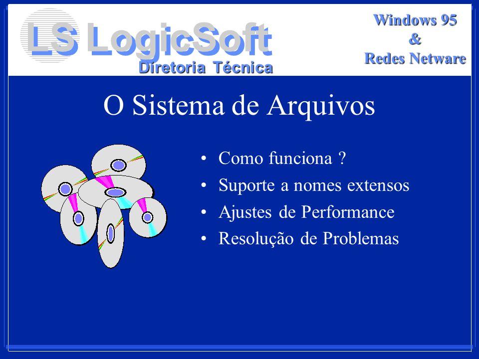 LS LogicSoft Diretoria Técnica Windows 95 & Redes Netware O Sistema de Arquivos Como funciona ? Suporte a nomes extensos Ajustes de Performance Resolu