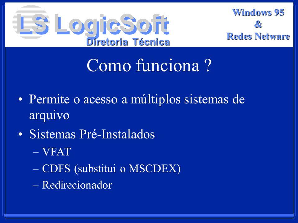LS LogicSoft Diretoria Técnica Windows 95 & Redes Netware Como funciona ? Permite o acesso a múltiplos sistemas de arquivo Sistemas Pré-Instalados –VF
