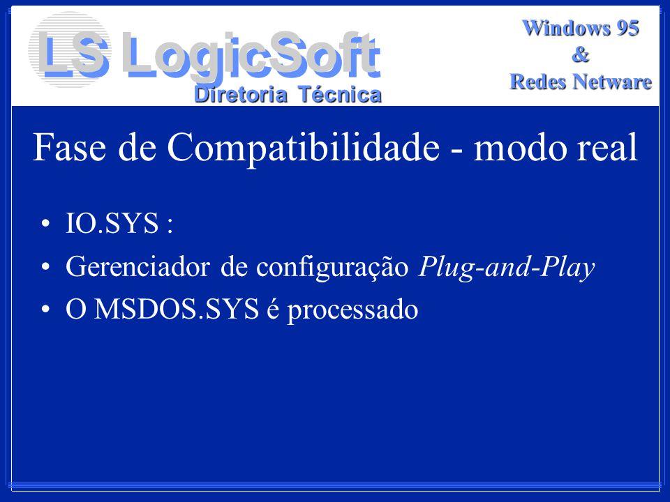 LS LogicSoft Diretoria Técnica Windows 95 & Redes Netware Fase de Compatibilidade - modo real IO.SYS : Gerenciador de configuração Plug-and-Play O MSD