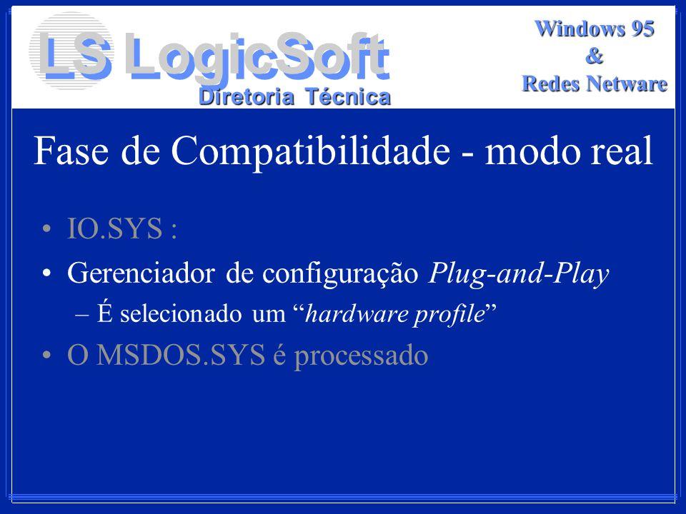 LS LogicSoft Diretoria Técnica Windows 95 & Redes Netware Fase de Compatibilidade - modo real IO.SYS : Gerenciador de configuração Plug-and-Play –É se