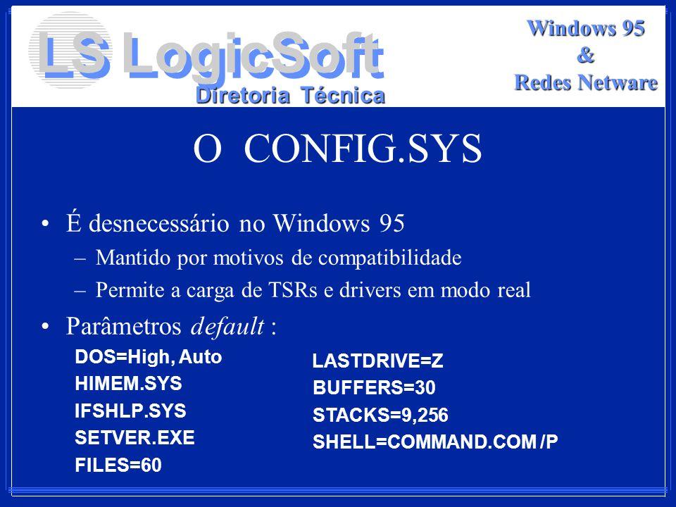 LS LogicSoft Diretoria Técnica Windows 95 & Redes Netware O CONFIG.SYS É desnecessário no Windows 95 –Mantido por motivos de compatibilidade –Permite