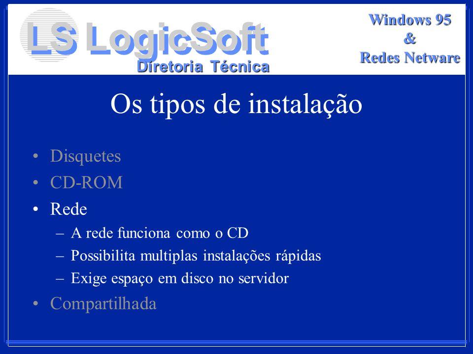 LS LogicSoft Diretoria Técnica Windows 95 & Redes Netware Os tipos de instalação Disquetes CD-ROM Rede –A rede funciona como o CD –Possibilita multipl