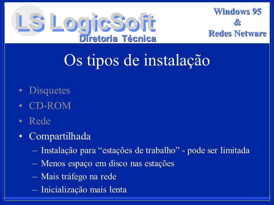 LS LogicSoft Diretoria Técnica Windows 95 & Redes Netware Os tipos de instalação Disquetes CD-ROM Rede Compartilhada –Instalação para estações de trab