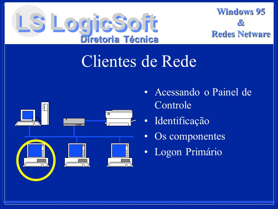 LS LogicSoft Diretoria Técnica Windows 95 & Redes Netware Clientes de Rede Acessando o Painel de Controle Identificação Os componentes Logon Primário