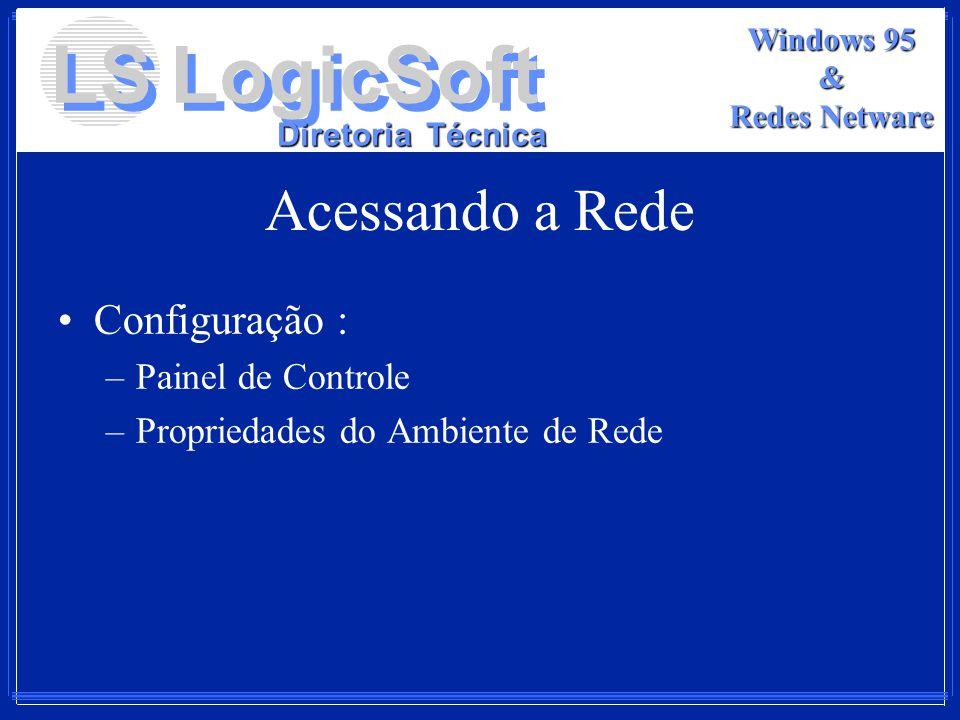 LS LogicSoft Diretoria Técnica Windows 95 & Redes Netware Acessando a Rede Configuração : –Painel de Controle –Propriedades do Ambiente de Rede