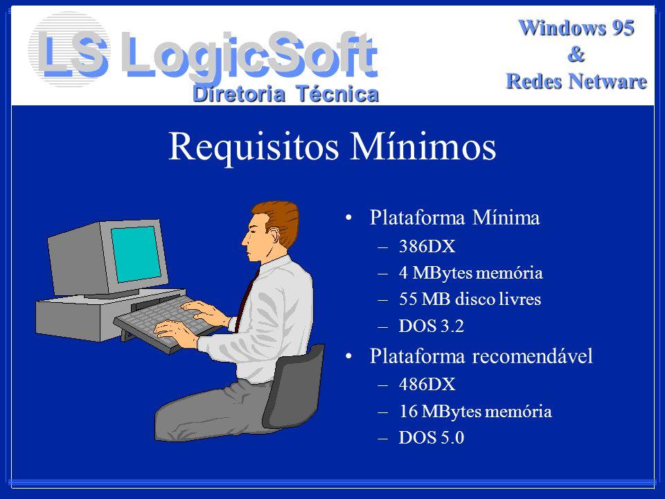 LS LogicSoft Diretoria Técnica Windows 95 & Redes Netware Requisitos Mínimos Plataforma Mínima –386DX –4 MBytes memória –55 MB disco livres –DOS 3.2 P