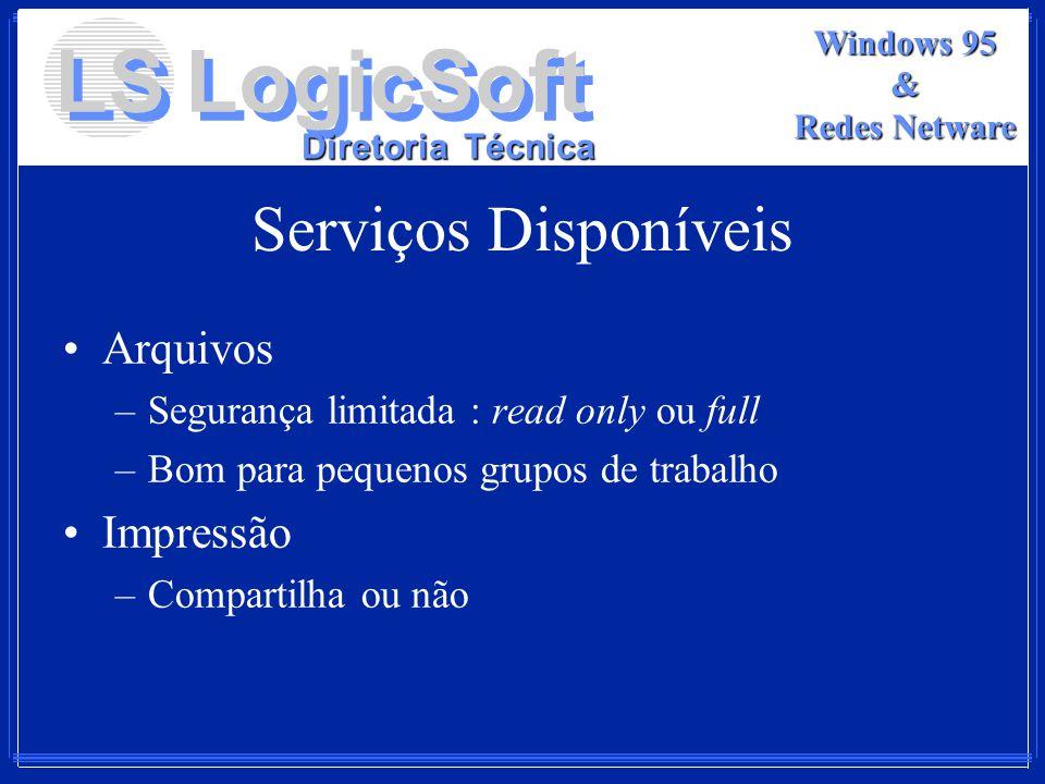 LS LogicSoft Diretoria Técnica Windows 95 & Redes Netware Serviços Disponíveis Arquivos –Segurança limitada : read only ou full –Bom para pequenos gru