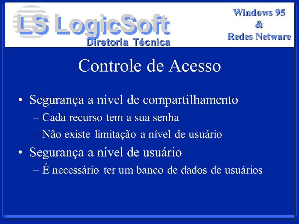 LS LogicSoft Diretoria Técnica Windows 95 & Redes Netware Controle de Acesso Segurança a nível de compartilhamento –Cada recurso tem a sua senha –Não