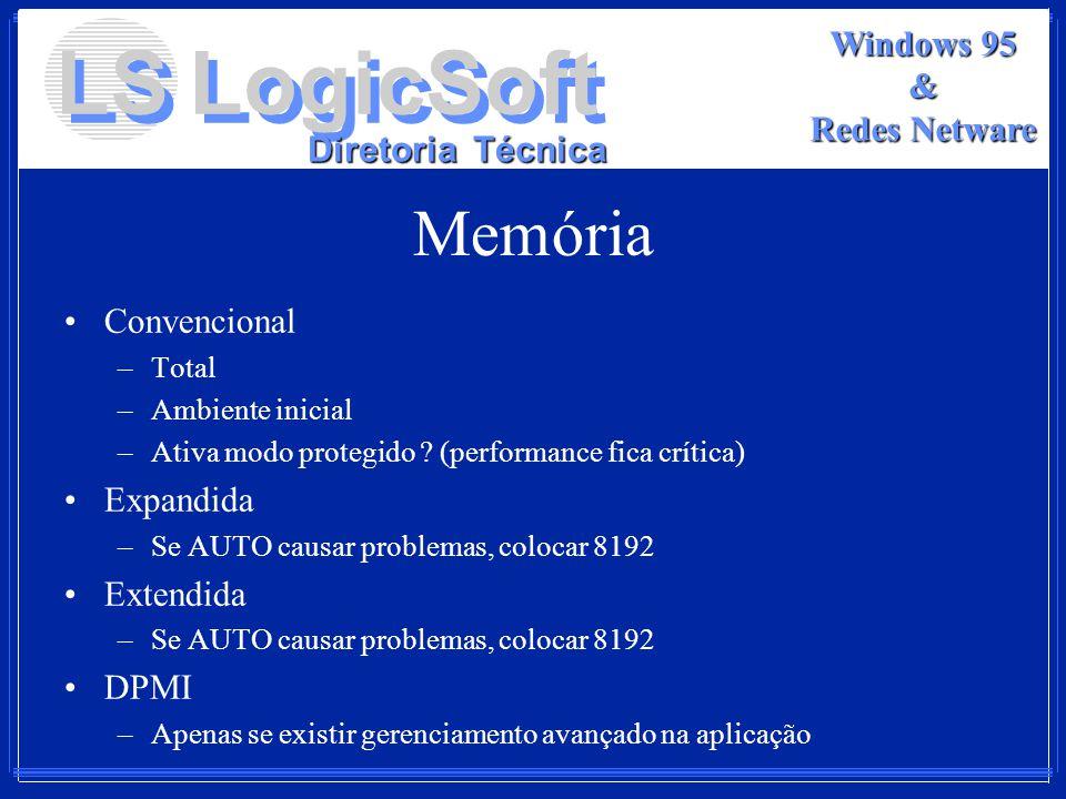 LS LogicSoft Diretoria Técnica Windows 95 & Redes Netware Memória Convencional –Total –Ambiente inicial –Ativa modo protegido ? (performance fica crít