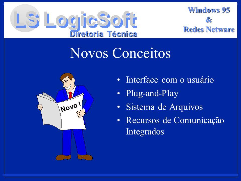 LS LogicSoft Diretoria Técnica Windows 95 & Redes Netware Novos Conceitos Interface com o usuário Plug-and-Play Sistema de Arquivos Recursos de Comuni