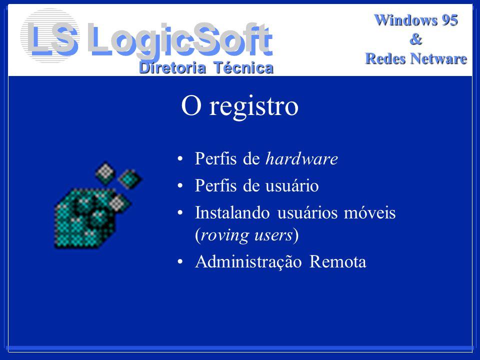LS LogicSoft Diretoria Técnica Windows 95 & Redes Netware O registro Perfis de hardware Perfis de usuário Instalando usuários móveis (roving users) Ad