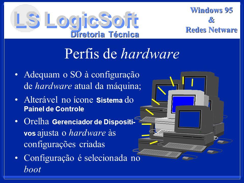 LS LogicSoft Diretoria Técnica Windows 95 & Redes Netware Perfis de hardware Adequam o SO à configuração de hardware atual da máquina; Alterável no íc