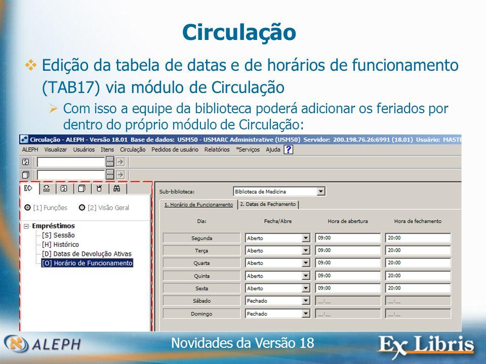 Novidades da Versão 18 19 Circulação Edição da tabela de datas e de horários de funcionamento (TAB17) via módulo de Circulação Com isso a equipe da biblioteca poderá adicionar os feriados por dentro do próprio módulo de Circulação: