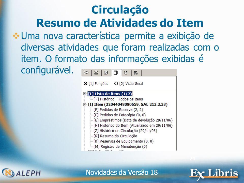 Novidades da Versão 18 24 Circulação Resumo de Atividades do Item Uma nova característica permite a exibição de diversas atividades que foram realizadas com o item.