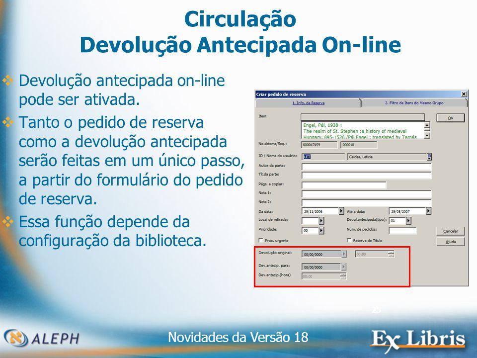 Novidades da Versão 18 25 Circulação Devolução Antecipada On-line Devolução antecipada on-line pode ser ativada.