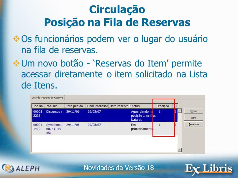 Novidades da Versão 18 26 Circulação Posição na Fila de Reservas Os funcionários podem ver o lugar do usuário na fila de reservas.