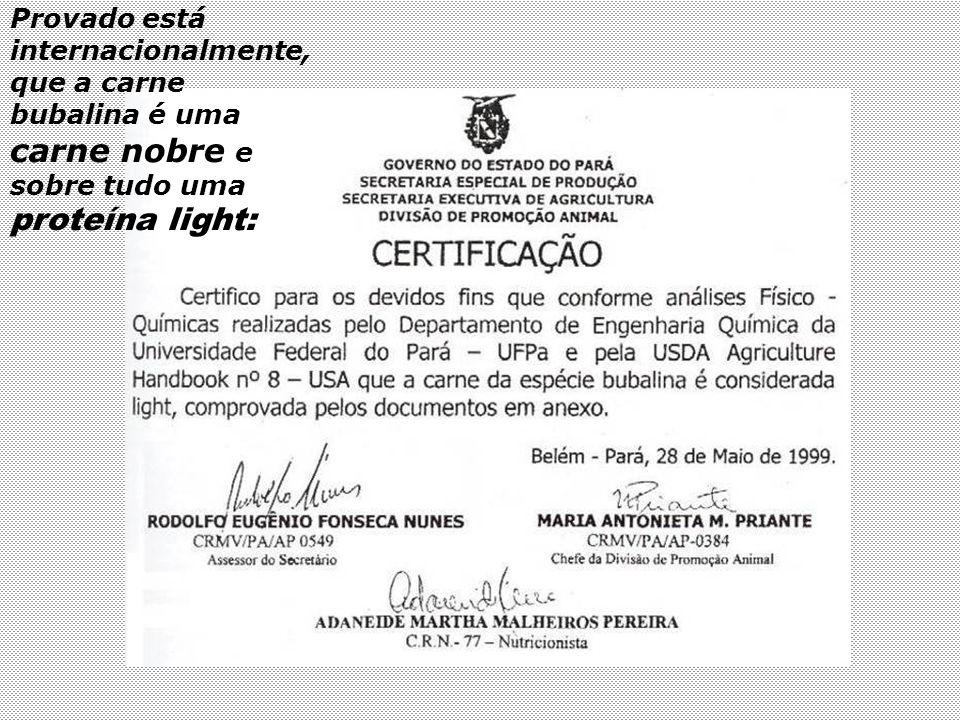 BÚFALO – carne: Componentes químicos: Comparativos Búfalos Boi ou outros bovinos Fontes Colesterol em 100 gr.