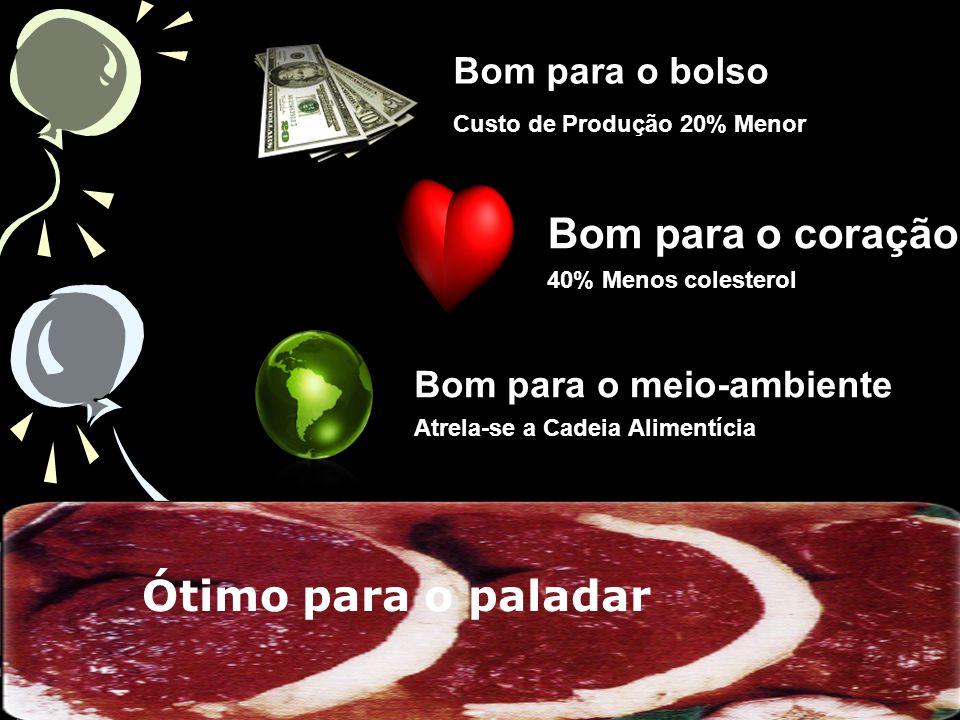 Bom para o bolso Custo de Produção 20% Menor Bom para o coração 40% Menos colesterol Bom para o meio-ambiente Atrela-se a Cadeia Alimentícia Ótimo para o paladar