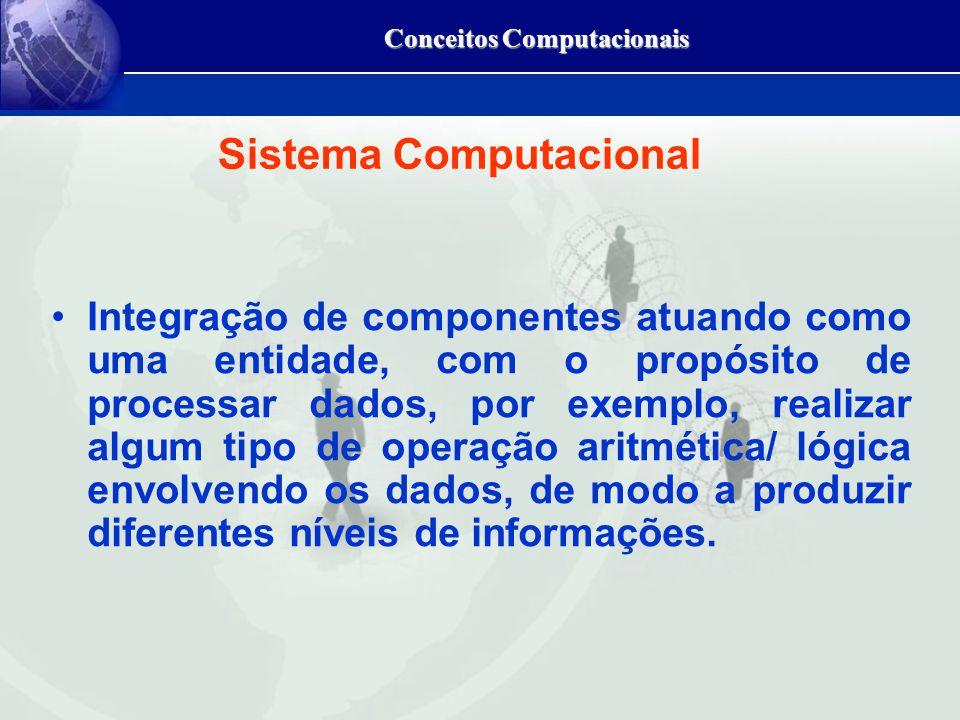 Conceitos Computacionais Sistema Computacional Integração de componentes atuando como uma entidade, com o propósito de processar dados, por exemplo, realizar algum tipo de operação aritmética/ lógica envolvendo os dados, de modo a produzir diferentes níveis de informações.