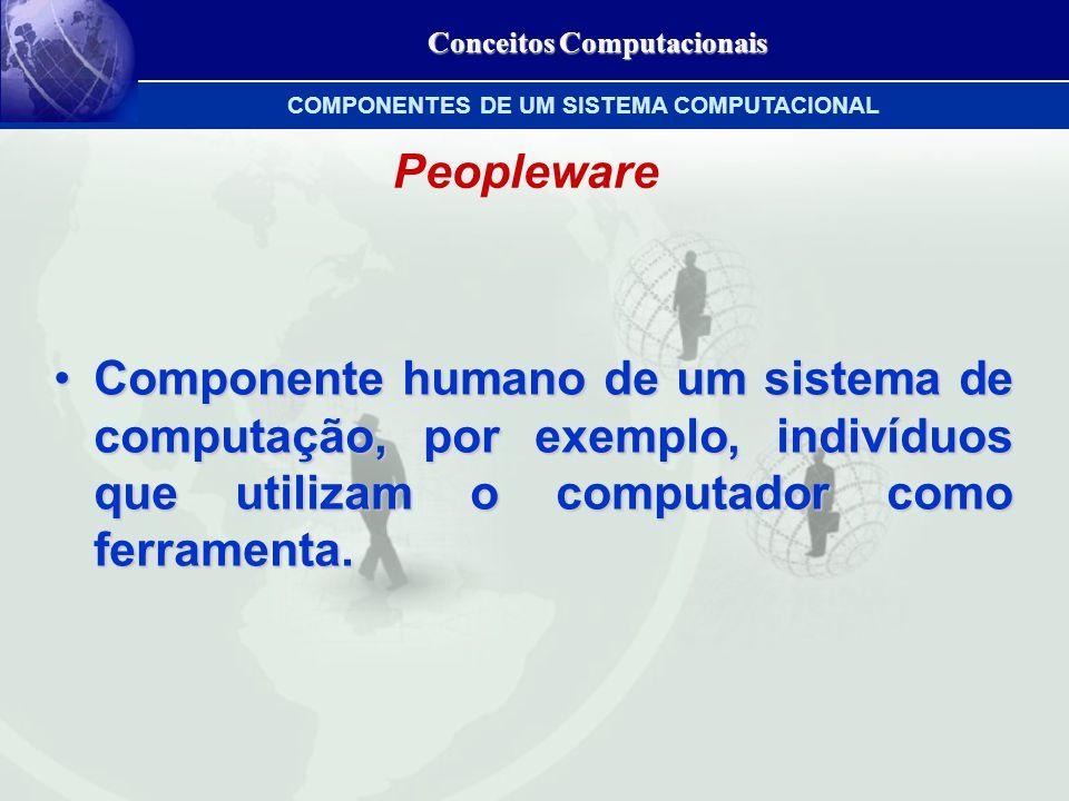 Peopleware Componente humano de um sistema de computação, por exemplo, indivíduos que utilizam o computador como ferramenta.Componente humano de um sistema de computação, por exemplo, indivíduos que utilizam o computador como ferramenta.