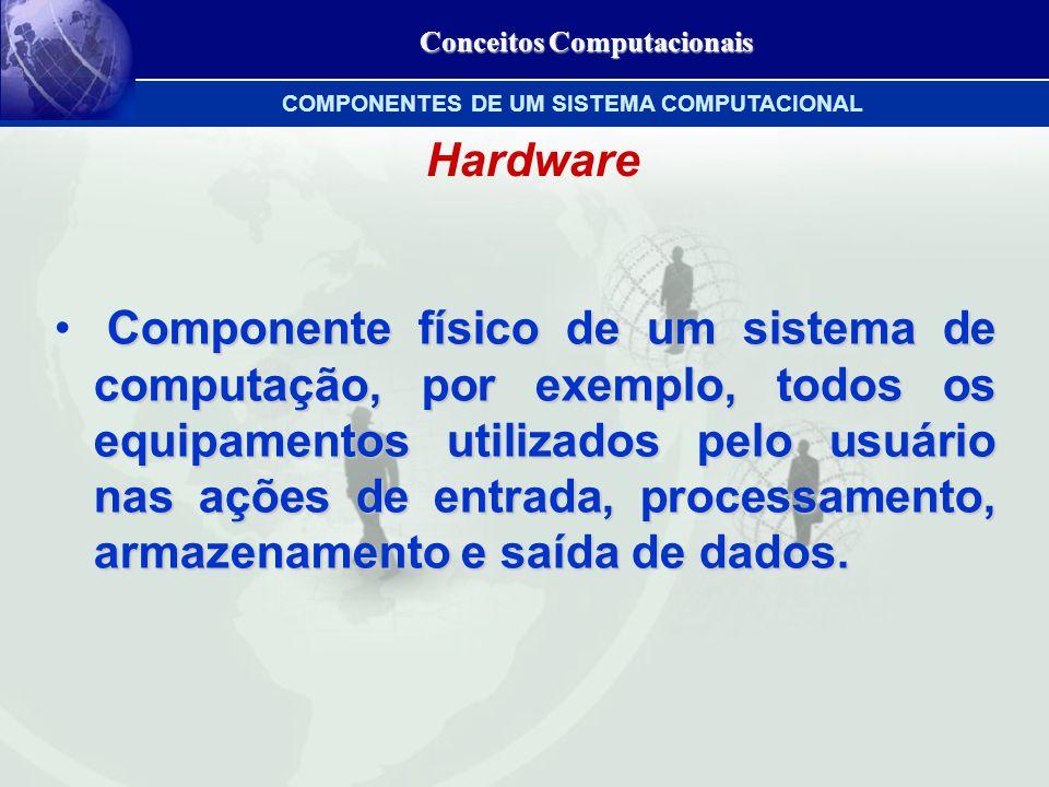 Conceitos Computacionais Hardware Componente físico de um sistema de computação, por exemplo, todos os equipamentos utilizados pelo usuário nas ações de entrada, processamento, armazenamento e saída de dados.