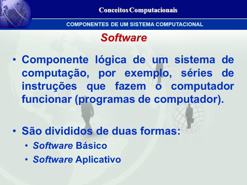 Conceitos Computacionais Software Componente lógica de um sistema de computação, por exemplo, séries de instruções que fazem o computador funcionar (programas de computador).